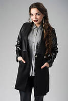 Комбинированное пальто с карманами