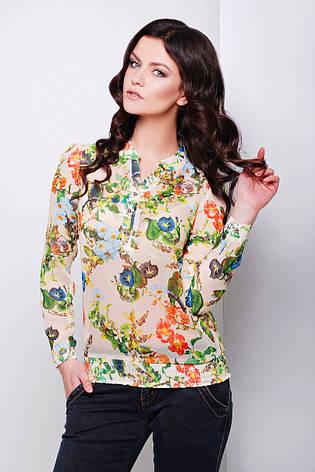 Шифоновая бежевая блузка с длинным рукавом и цветочным принтом блуза Весна д/р, фото 2
