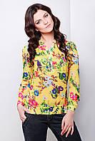 Шифоновая желтая блузка с длинным рукавом и цветочным принтом блуза Весна д/р