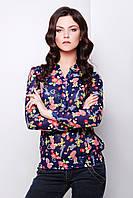 Шифоновая синяя блузка с длинным рукавом и цветочным принтом блуза Весна д/р
