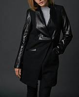 Комбинированное пальто с прорезными карманами