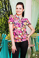 Женская блузка с цветами короткий рукав блуза Весна к/р