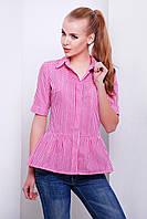 Летняя женская рубашка в розовую клетку с баской короткий рукав блуза Доминика к/р