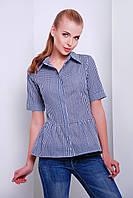 Летняя женская рубашка в синюю клетку с баской короткий рукав блуза Доминика к/р