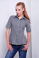 Летняя женская рубашка в черную клетку с баской короткий рукав блуза Доминика к/р
