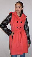 """Кашемировое пальто с кожаными вставками """"Бантик-Кожа"""""""