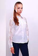 Нарядная белая блузка с гипюровыми рукавами блуза Камала д/р