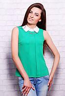 Зеленая офисная блузка без рукавов блуза Келли б/р