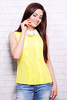 Желтая офисная блузка без рукавов блуза Келли б/р