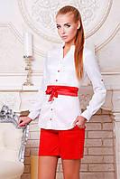 Белая офисная блузка с красным поясом блуза Киола д/р