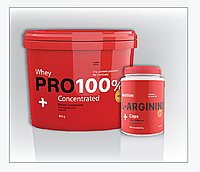 Комплект: Протеин PRO 100%+ Whey Concentrated 800 г+ аргинин