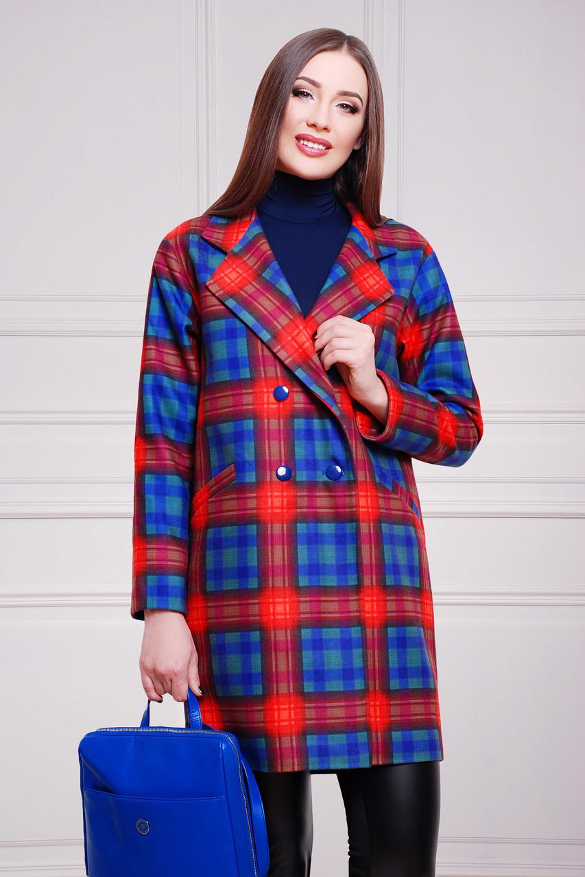 c598bbb8dd6 Кашемировое женское пальто Клетка красно-фиолетовая эмми2 - Интернет-магазин