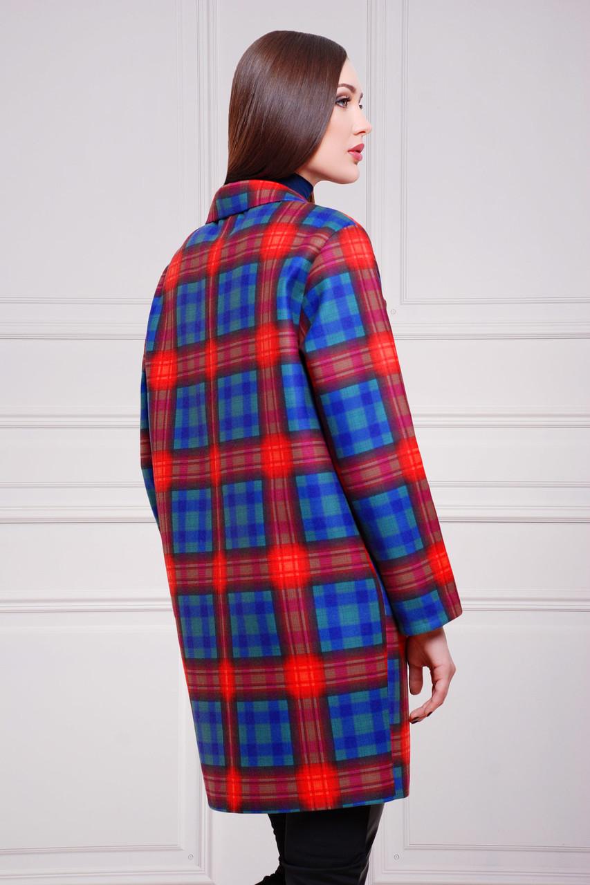 4bec8dcae38 Кашемировое женское пальто Клетка красно-фиолетовая эмми2