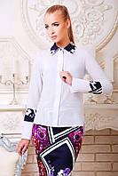 Белая женская блузка из креп-шифона длинный рукав блуза Оригами д/р