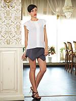 Летняя женская белая блузка из крепа блуза Селена б/р