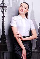 Классическая женская белая рубашка с коротким рукавом блуза Норма к/р