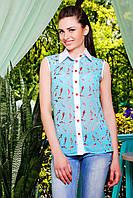 Легкая шифоновая бирюзовая блузка с принтом без рукава блуза Сити2 б/р