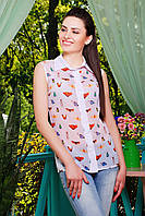 Легкая шифоновая блуза с принтом бабочки без рукава блузка Сити2 б/р