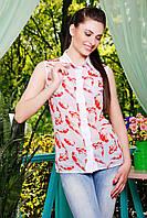 Легкая шифоновая блузка с принтом рыбки без рукава блуза Сити2 б/р