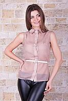 Женская летняя блузка в горох из бежевого шифона Сити2 горох б/р