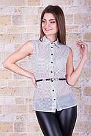 Женская летняя блузка в горох из белого шифона блуза Сити2 горох б/р