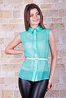Женская летняя блузка в горох из зеленого шифона блуза Сити2 горох б/р
