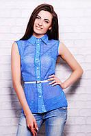 Женская летняя блузка в горох из синего шифона блуза Сити2 горох б/р