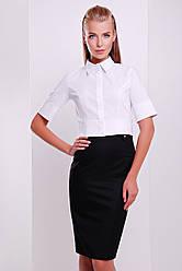 Белая короткая блузка офисная деловая блуза Тэсла к/р