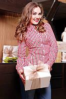 Женская бордовая рубашка в белую клетку блуза Шериф д/р
