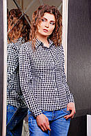 Женская черная рубашка в белую клетку блуза Шериф д/р