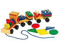 Деревянный паровозик,  поезд каталка деревянная игрушка геометрика, деревянный паровозик с фигурками