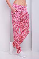 Широкие женские летние брюки-бананы красного цвета Одесса