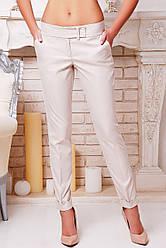 Светло-бежевые женские классические брюки Хилори