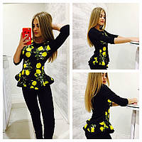 """Костюм женский лосины и блузка с баской """"Лимоны"""" 2 цвета Dm14"""