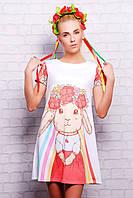 Летнее платье-футболка с принтом Зайка сукня Тая-3 к/р