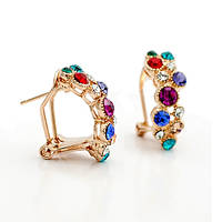 Красивые женские сережки с разноцветными кристаллами Сваровски позолота