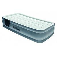 Велюр-матрас 67560 серый 203*152*43 см с встроенным насосом, с дорожной сумкой Bestway