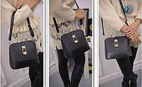 Женская сумка клатч через плечо с плетением Черный, фото 1