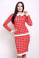 Женский офисный костюм-двойка юбка карандаш блуза длинный рукав Клетка красная Тереза