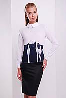 Молодежная белая блузка с принтом Котики блуза Милина д/р