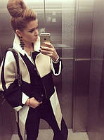 Комбинированное короткое пальто