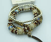 Стильные объёмные браслеты с камнями. Модная бижутерия оптом. 916