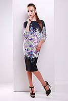 Прямое черное платье до колен с цветами Лаванда сукня Лоя-1Ф д/р