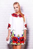 Белое короткое летнее платье с принтом Маки сукня Тая-3 д/р