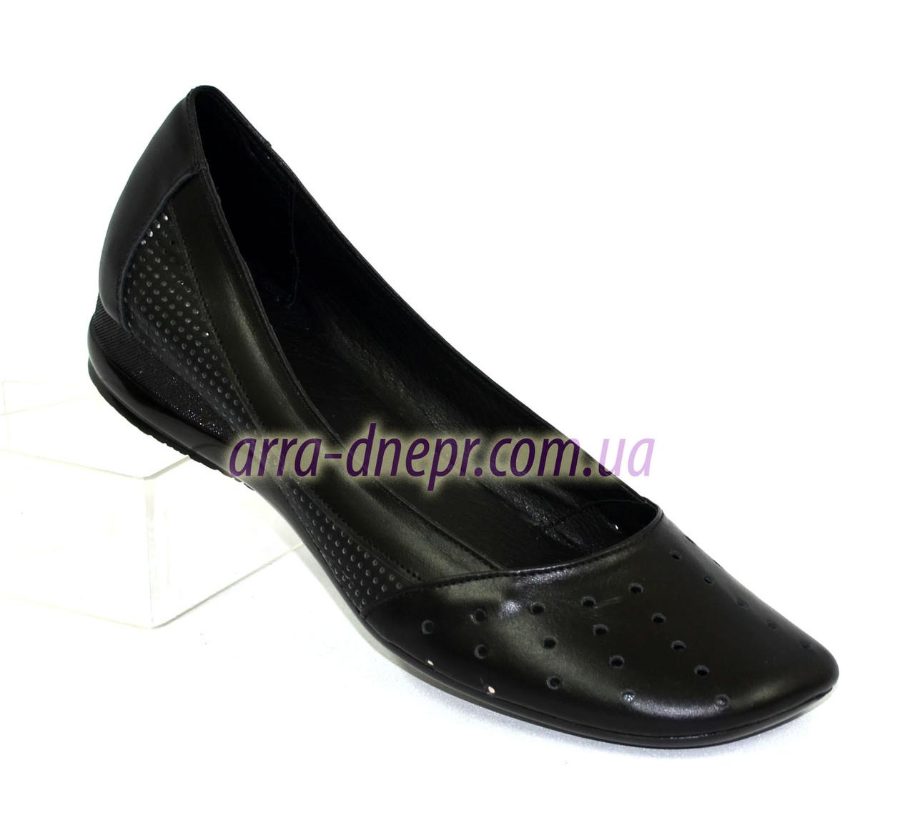 Балетки кожаные черные женские на низкой подошве