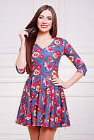 Короткое расклешённое платье с цветочным узором Маки-зеленый сукня Мая д/р