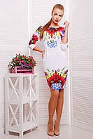 Приталенное белое платье с крупным цветочным принтом Маки сукня Эльза д/р