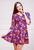 Короткое трикотажное платье с цветочным принтом и клешеной юбкой Маки-синий сукня Мая д/р