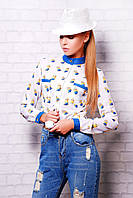 Модная блузка с мультяшным принтом Миньон блуза Лекса 1К д/р