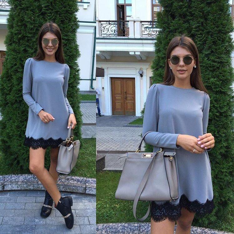 60af224e733 Стильное платье из серого трикотажа с черным кружевом - Интернет-магазин  одежды и обуви от